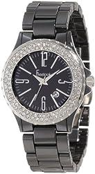 Freelook Women's HA5110-1A Black Ceramic Stainless Steel Swarovski Bezel Watch