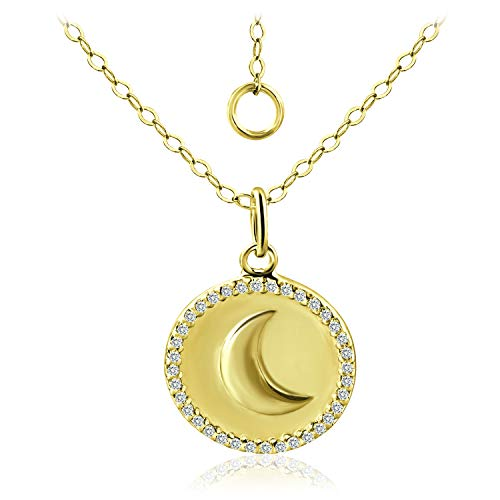 Gold Silver Bali Circle Pendant - Sea of Ice Gold Flashed Sterling Silver CZ Crescent Moon Round Circle Pendant Necklace 16 Inch + 2 Inch Extender
