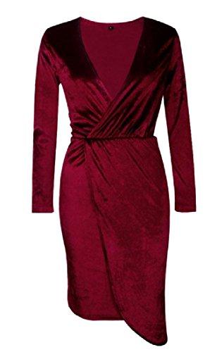 Velours Or Tunique Confortable Femmes Profonde Vin Croix Robe Club De Luxe V-cou Rouge