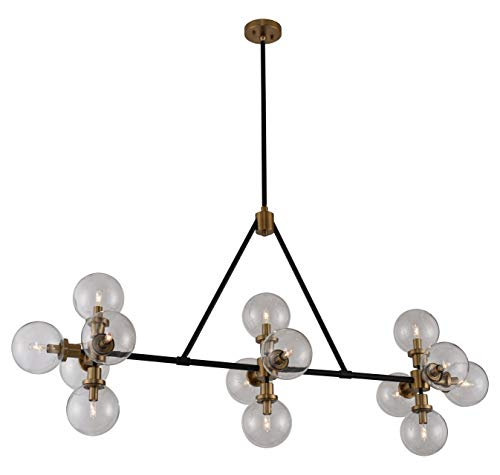 Cameo 14 Light Island Matte Black Finish with Brushed Pearlized Brass