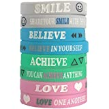 (12-Pack) Inspirational Party Favors for Teens, Silicone Bracelets Wristbands, Cheerleading Gifts, Girl Scout, Sweet 16 Party Favors