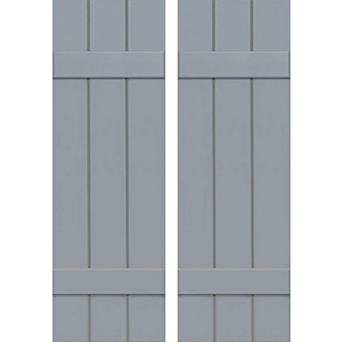 "Ekena Millwork CWB12X025UNC Exterior Three Board Composite Wood Board-N-Batten Shutters with Installation Brackets (Per Pair), Unfinished, 12""W x 25""H"