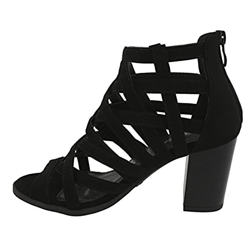 7c57c10127a Top Moda Women s Laser Cutout Open Toe Chunky Stacked Heel Ankle Bootie  80%OFF