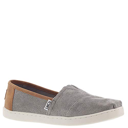 TOMS Classic Youth Micro Corduroy/Synthetic Leather Slip Ons Cement Boys 2 (Gray Light Toms)