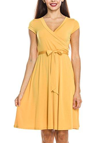 - KAYLYN KAYDEN KLKD J1I01 Women's Basic Solid Draped Self Tie A-Line Faux Wrap Dress Mustard Large