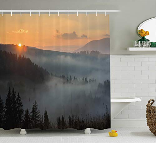Ambesonne Nature Shower Curtain by, Morning at Foggy Mountain Range Sunrise Pine Tree Forest Dramatic Misty Sky Scenery, Fabric Bathroom Decor Set with Hooks, 84 Inches Extra Long, Multicolor
