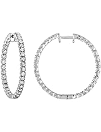 2 cttw AGS Certified I1-I2 14K White Gold Diamond Inside Out Hoop Earrings (H-I)
