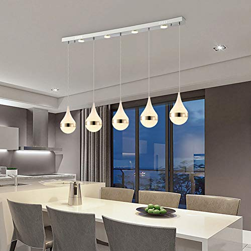 BYJUM Adjustable Ceiling Straight Row LED Disc Chandelier with 3 Lights Warm White,Filadritta,5Heads