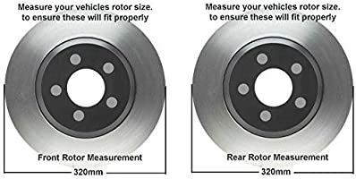 Detroit Axle - RWD V6 Front 320mm and Rear Solid Drilled and Slotted Disc  Brake Rotors w/Ceramic Pad Kit for 2005-18 Chrysler 300 - [09-18 Dodge
