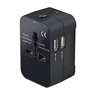 Travel Adapter, Worldwide All in One Universal Travel Adaptor Wall AC Power Plug Adapter Wall Charger Dual USB Charging Ports USA EU UK AUS Cell Phone Laptop