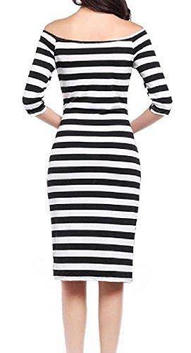 Coolred Mid Women Length Half Shoulder Dress Black Off Sleeve Elegant Striped rFw6qrA