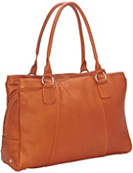 Piel Leather Laptop Travel Tote, Saddle, One Size