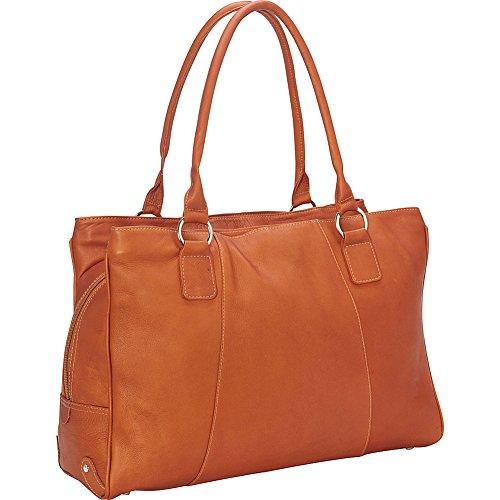 (Piel Leather Laptop Travel Tote, Saddle)