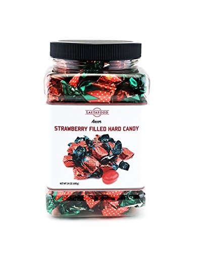 LaetaFood Arcor Strawberry Filled Hard Candy, Sachet Wrap, Plastic Jar 24 Ounces