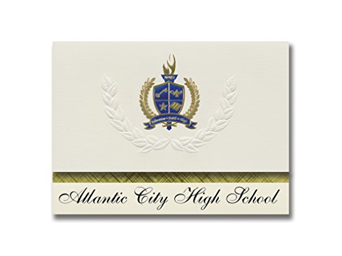 Signature Announcements Atlantic City High School (Atlantic City, NJ) Graduation Announcements, Presidential style, Elite package of 25 with Gold & Blue Metallic Foil -