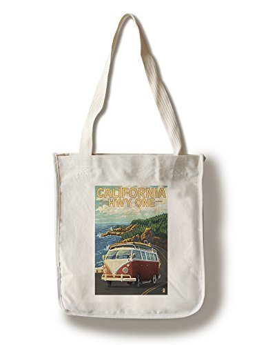 Lantern Press California Highway One Coast - Camper Van (100% Cotton Tote Bag - Reusable) -