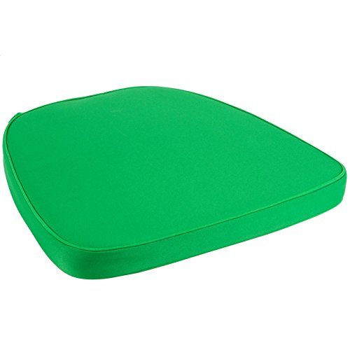 Chair Pad | Seat Padded Cushion with a Polycore Thread Soft Fabric with Straps and Removable Zippered Cover (Emerald Green) - Oak Finish Gel