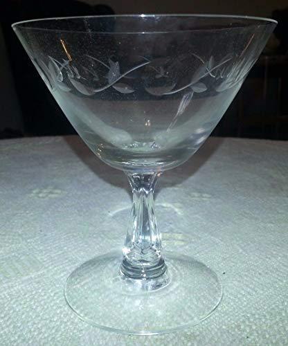 Vintage FOSTORIA Etched Crystal Champagne Stem Glass Vine w Thumbprints Pattern ()
