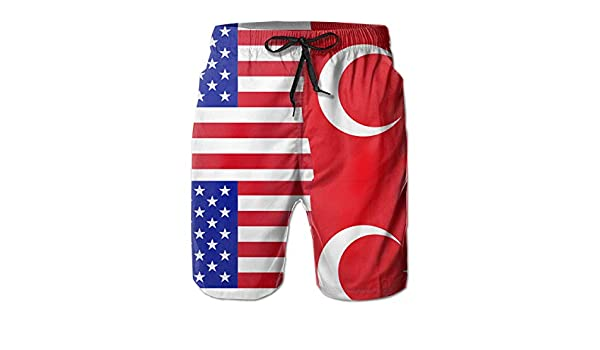 STDKNSK9 Mens Half USA Half Turkey Flag Board Shorts Swim Trunks