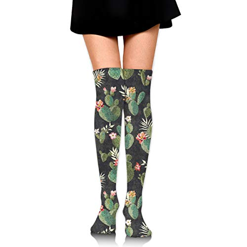 MFMAKER Women Girls Cheerleader Over The Knee Plus Size Long Cotton Stretchy Thigh Stockings Cactus Flowers Floral High Tube Socks ()