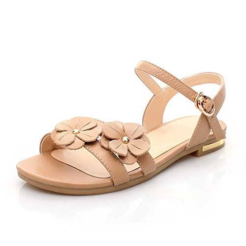 Solido Da Morbido Sandalo Voguezone009 Tacco Toe Open Donna Albicocca Fibbia Basso SxzwqZa1