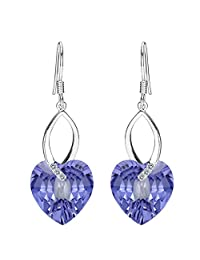 EleQueen 925 Sterling Silver CZ Love Heart French Hook Dangle Earrings Adorned with Swarovski® Crystals