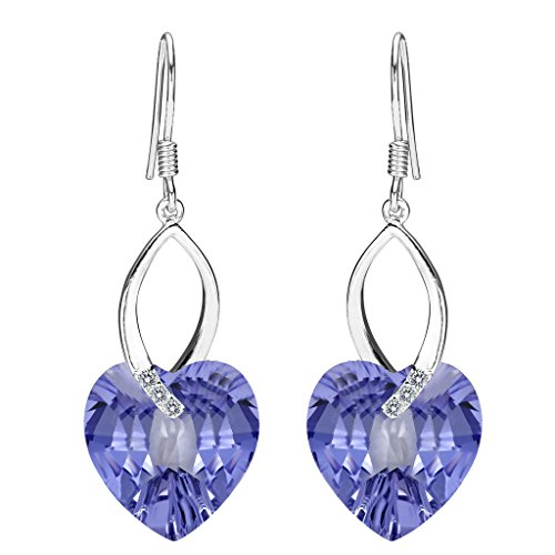 EleQueen 925 Sterling Silver CZ Love Heart French Hook Dangle Earrings Lavender Purple Adorned with Swarovski Crystals