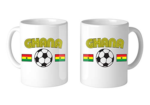 Amdesco Ghanaian Soccer Ghana Football 11 Oz White Coffee Mug (2 Mugs)