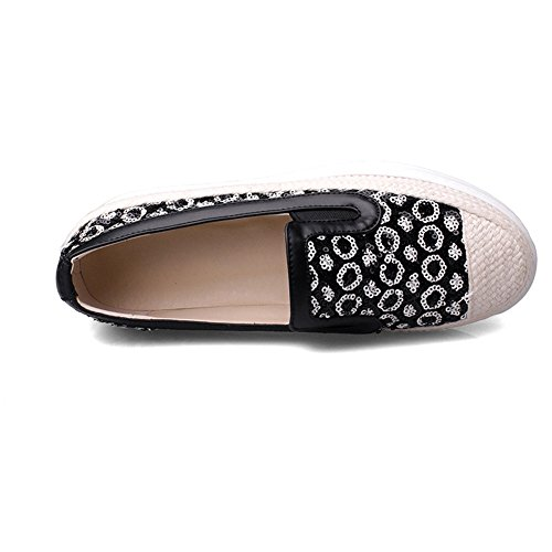 Lucksender Platform Womens Black Shoes Sequin with Loafer fAq1Zxf