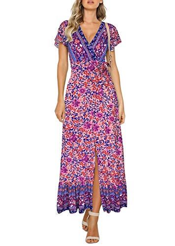 ZESICA Women's Bohemian Floral Printed Wrap V Neck Short Sleeve Split Beach Party Maxi Dress Purple