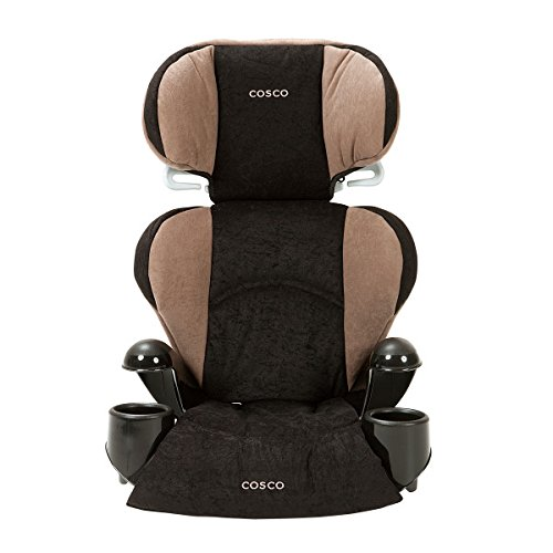 Cosco Rightway Booster Car Seat for Children, Adjustable Headrest, Integrated Cup Holders, Chocolate Chip
