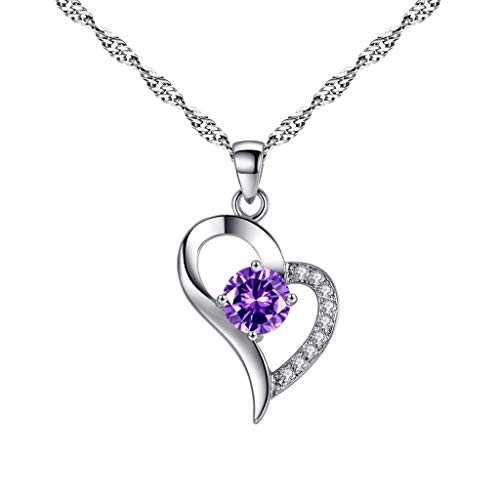 Topgee Wedding Season Jewelry Women Simple Heart Pendant Necklace Clavicle Chain ()