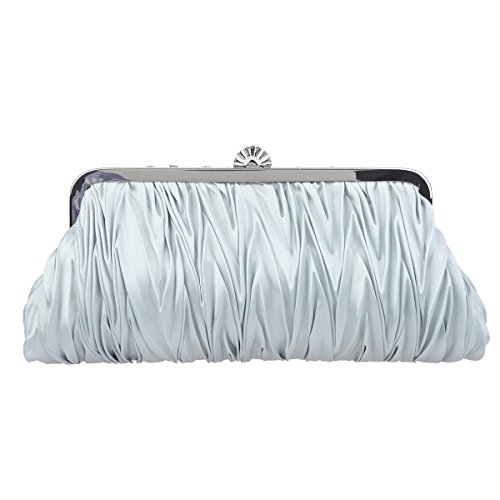 Clutch Wedding Purses For And Evening Clutches Satin Pleated Silver Bonjanvye Women Party q8ZEOW
