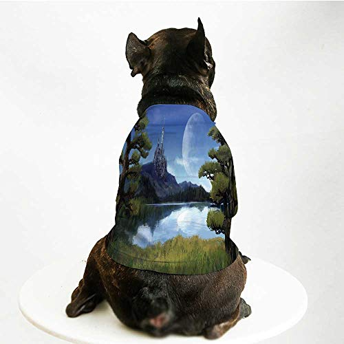 YOLIYANA Fantasy Decor Comfortable Pet Suit,Moon Surreal Scene with Riverside Lake Forest and Medieval Castle on Hill Art for Teddy Chihuahua Bichon,M]()
