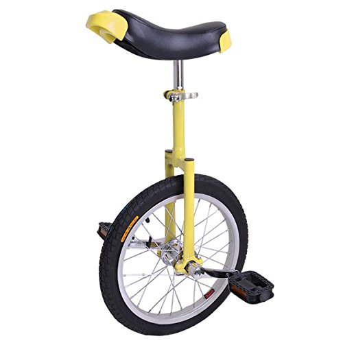 16'' Inches Wheel Skid Proof Tread Pattern Unicycle W/ Stand Uni-Cycle Bike Cycling YELLOW by Jamden