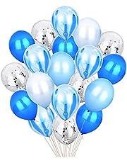مجموعة من 20 قطعة من بالونات اللاتكس باللون الأزرق والفضي اللامع مقاس 30.48 سم، بالونات متناثرة، شريط رخامي بألوان متنوعة لتزيين حفلات استقبال المولود وأعياد الميلاد وحفلات الزفاف من إن واي إي