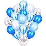 20pcs 12'' Blue & Silver Metallic Latex Balloons Set, Confetti Balloons Agate Marble Stripe Assorted Colors Party Balloon for Baby Shower Birthday Wedding NYE Party Decoration Supply