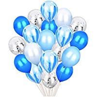 20pcs 12'' Blue & Silver Metallic Latex Balloons Set, Confetti Balloons Agate Marble Stripe Assorted Colors Party…