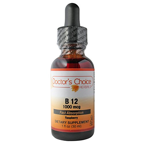 Doctor's Choice B12 1000 mcg Liquid Herbal Supplement with Vitamin B12 and Raspberry Natural Flavors, 30ml, Kosher – PREMIUM QUALITY – Glass Bottle.