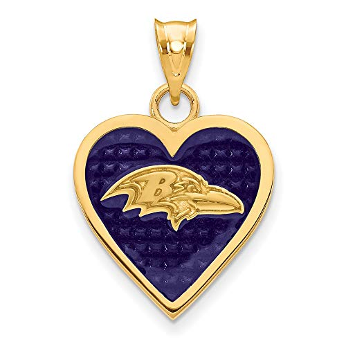 (NFL Sterling Silver GP Baltimore Ravens Enameled Heart Pendant)