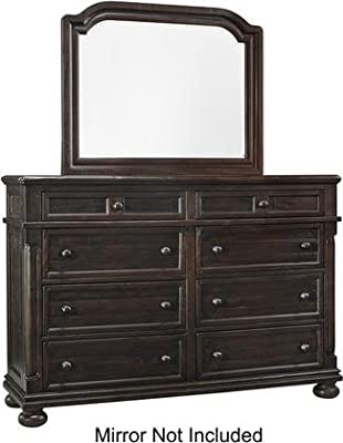 """Ashley Gerlane Collection B657-31 62"""" 8-Drawer Dresser with All Pine Wood Construction Ball Bearing Drawer Glides and Distressing Details in Dark"""