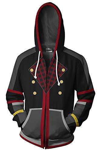 Obtai Sora Xemnas Roxas Hoodie Sweatshirt Cosplay Costume 3D Print Zip Up Jacket Coat Unisex (Large, Sora/Black2)