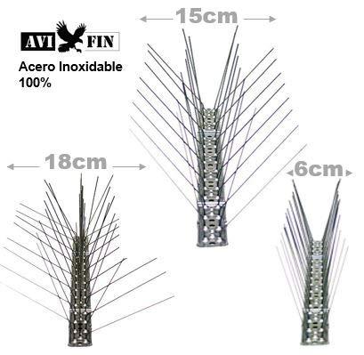 AVIFIN Pinchos antipalomas - púas antiaves para Profesionales. 3 Modelos a Elegir en Acero Inoxidable 100%. Packs de 5-10 - 25 y 50 Metros a Elegir. ...