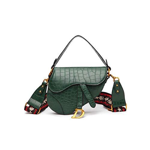Crocodile Pattern Saddle Shoulder Bag for Women Fashion Small Embroidered Strap Top Handle Handbag Crossbody Handbag Purse-Green Serpentine