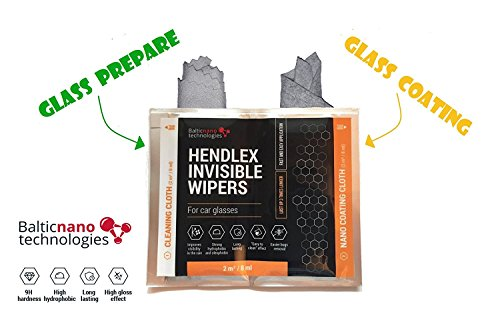 Hendlex Nano Ceramic Glass Coating Napkins Invisible Wiper | Nanotechnology Cloth for Hydrophobic Car Windshield Water Repellent Protection 2in1