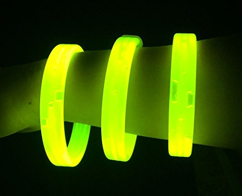 """Glow Sticks Bulk Wholesale Wristbands, 25 9"""" Yellow Triple-wide Glow Bracelets, Bright Color, Glow 8-12 Hrs, 25 Connectors Included, Glow Party Favors Supplies, Sturdy Packaging, GlowWithUs Brand"""