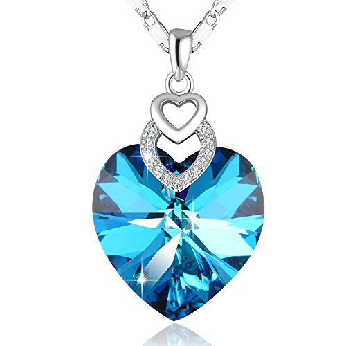 Heart Of Ocean Blue Necklace Double Heart Necklace PLATO