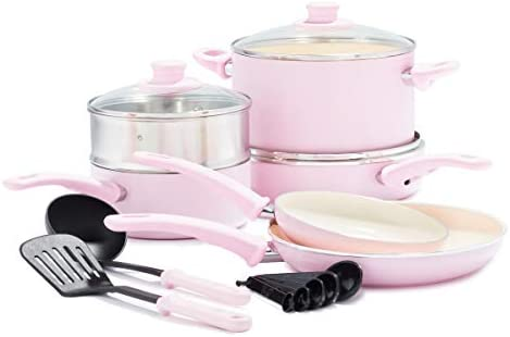 GreenLife Soft Grip Healthy Ceramic Nonstick Pink Cookware Pots and Pans Set, 12-Piece