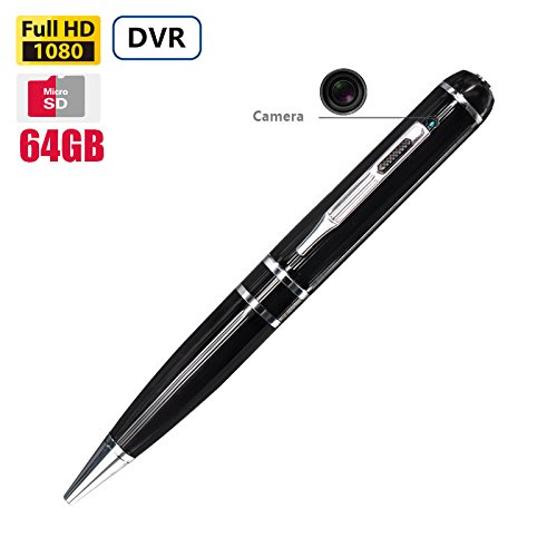 64GB FHD Video Pen Camera 5.0 Megapixel Camera 3 Ink Refills 1080P FHD Video Recording Long Battery Life H264 Best Self Contained Video Recording Pen by Fuvision