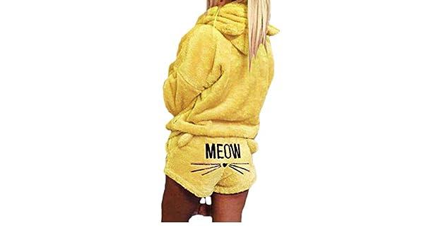 MUCHAO Pijamas de otoño e Invierno Pijamas Kawaii Modelo de Gato Lindo con Capucha párrafo Corto Traje de Dos Piezas: Amazon.es: Ropa y accesorios